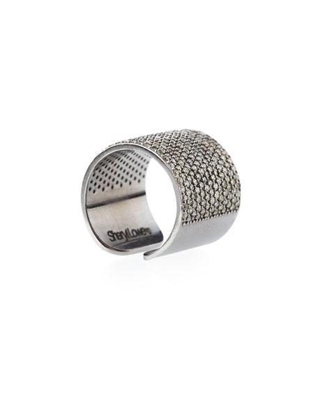 Sheryl Lowe Pave Diamond Cuff Band Ring, Size 8