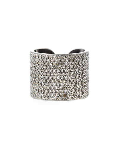 Pave Diamond Cuff Band Ring, Size 8
