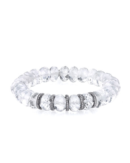10mm Crystal Quartz Beaded Bracelet with Diamond Rondelles