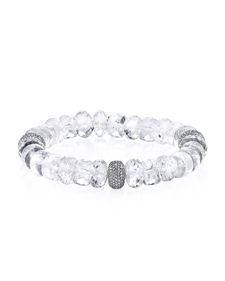 Sheryl Lowe 10mm Crystal Quartz Beaded Bracelet with Diamond Bead N9gTjD