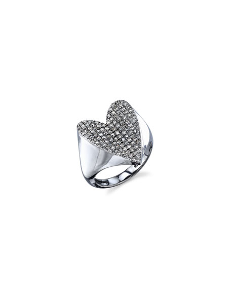 Pave Diamond Heart Ring, Size 8