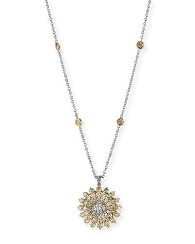 Pavé Diamond Flower Pendant Necklace in 18K Gold