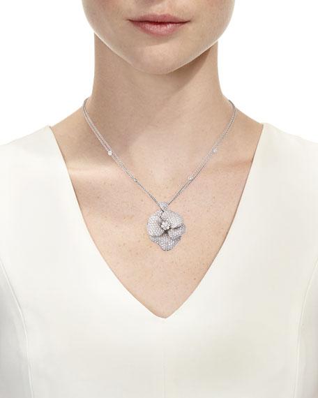 Pavé Diamond Flower Necklace in 18K White Gold