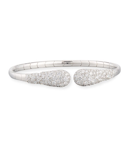 18K White Gold Snake Cuff Bracelet with Diamonds