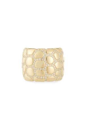 Vendorafa Anaconda 18K Gold Ring with Diamonds, Size 7.25