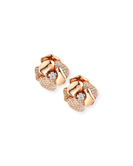 18K Rose Gold Flower Earrings with Diamonds