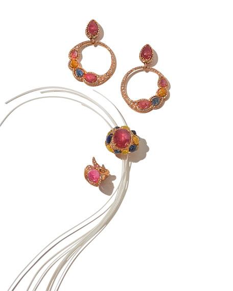 Open Sapphire & Diamond Circle Earrings in 18K Rose Gold