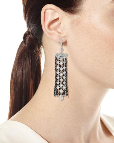 Black & White Diamond Fringe Drop Earrings