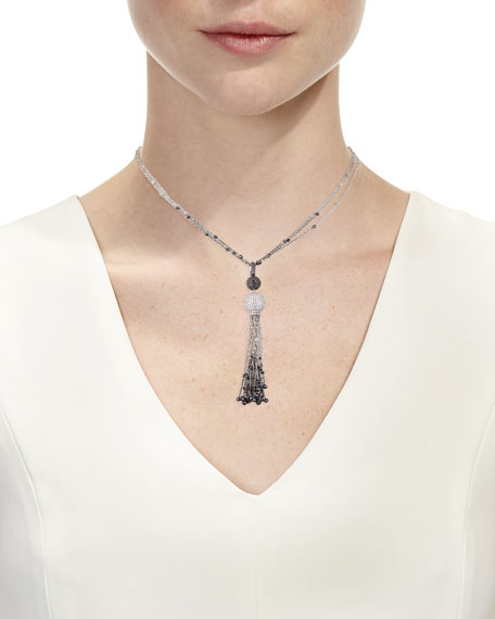 Black & White Diamond Tassel Pendant Necklace
