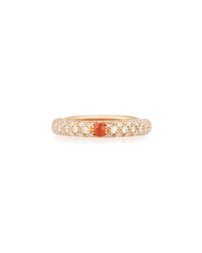 18K Rose Gold & Diamond Ring with One Orange Sapphire, Size 7