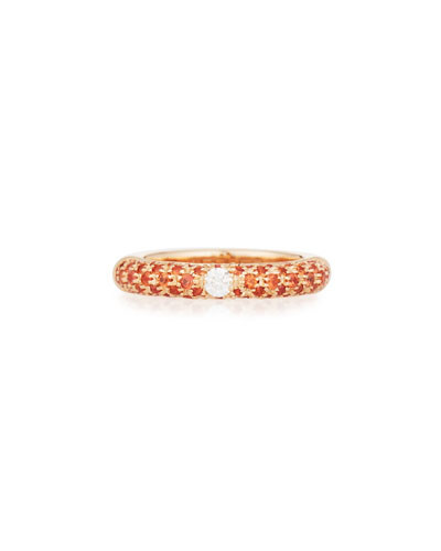 18K Rose Gold & Orange Sapphire Ring with One Diamond, Size 7