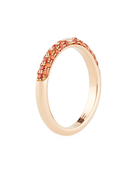 18K Rose Gold Band Ring with Orange Sapphires & Diamond, Size 7