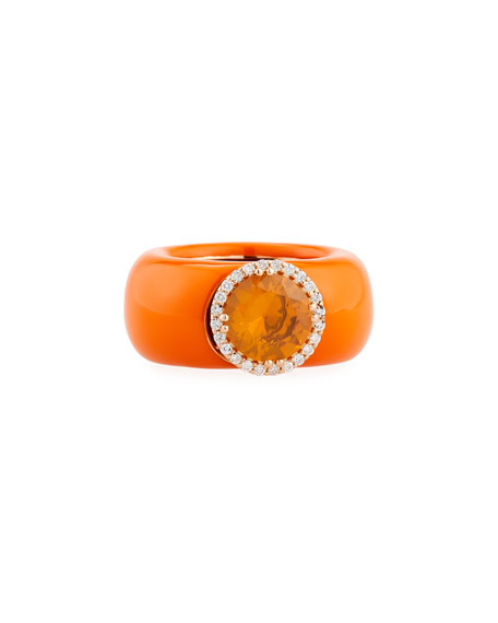Orange Enamel Band Ring with Orange Sapphire & Diamonds, Size 7