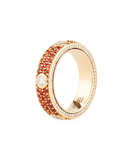 18K Gold Band Ring with Orange Sapphires & Diamonds, Size 6.75