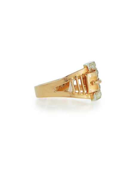 14K Rose Gold Diamond Buckle Ring