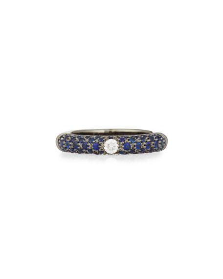 Single Diamond & Pavé Blue Sapphire Ring, Size 6.25