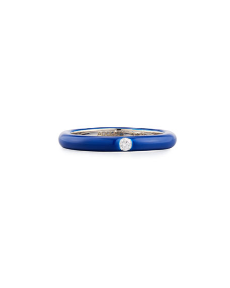 Slim Blue Enamel Band Ring with White Diamond, Size 7