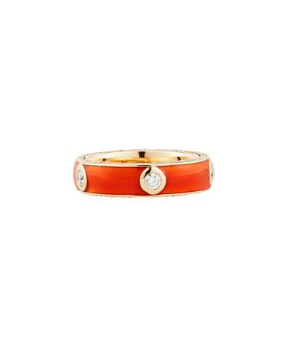 Orange Enamel Band Ring with White Diamonds, Size 6.75