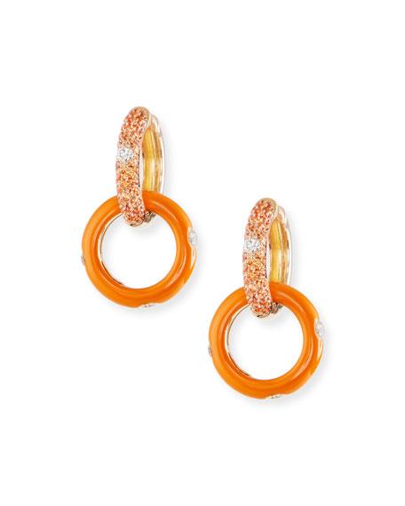 18k Circle-Drop Earrings w/ Orange Sapphires & Diamonds