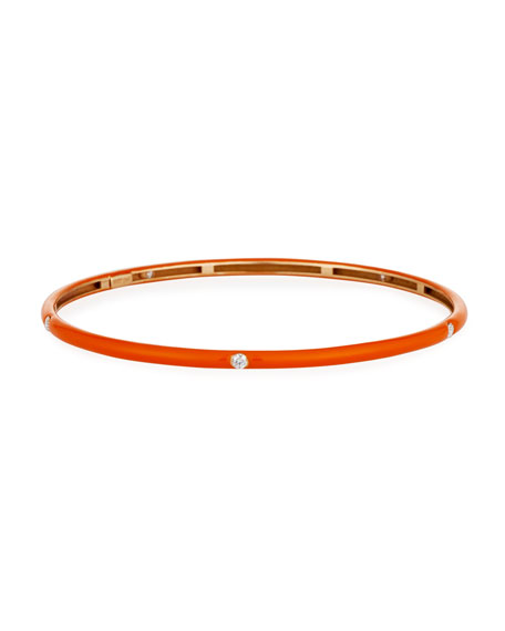 Orange Enamel Bracelet with Diamonds