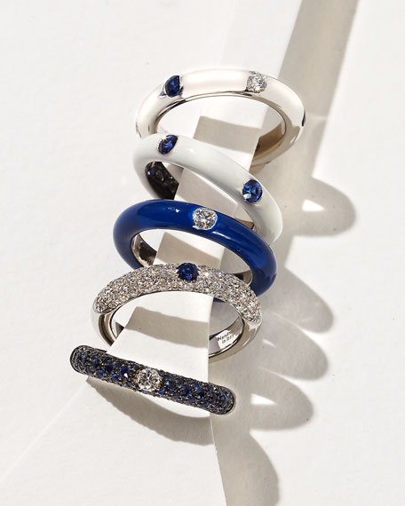 18K White Gold Band Ring with Inset Diamonds & Sapphire, Size 7.5