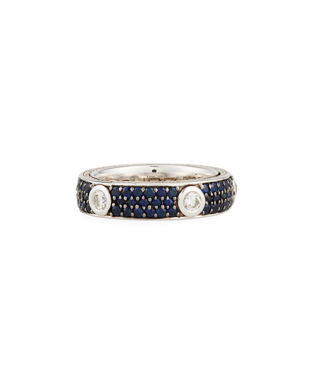 Adolfo Courrier Single Diamond & Pavé Blue Sapphire Ring, Size 6