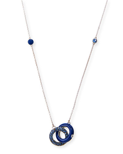 Interlocking Blue Enamel Pendant Necklace with Blue Sapphires & Diamonds