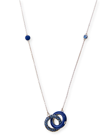 Interlocking Blue Enamel Pendant Necklace with Blue Sapphires & Diamonds