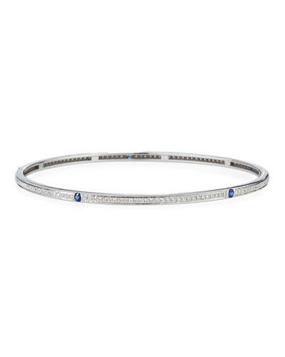 Diamond & Blue Sapphire Bracelet in 18K White Gold
