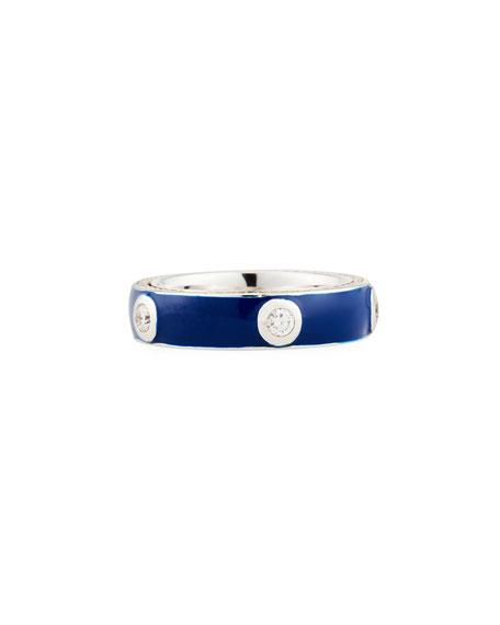 Blue Enamel Band Ring with White Diamonds, Size 6.75