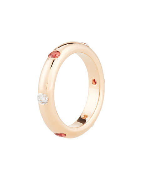 18K Rose Gold Band Ring with Orange Sapphire & Diamonds, Size 7.5