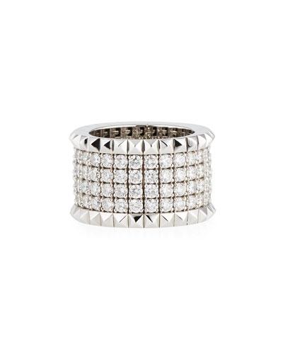 Rock & Diamond 18K White Gold Ring with Diamonds, Size 6.5