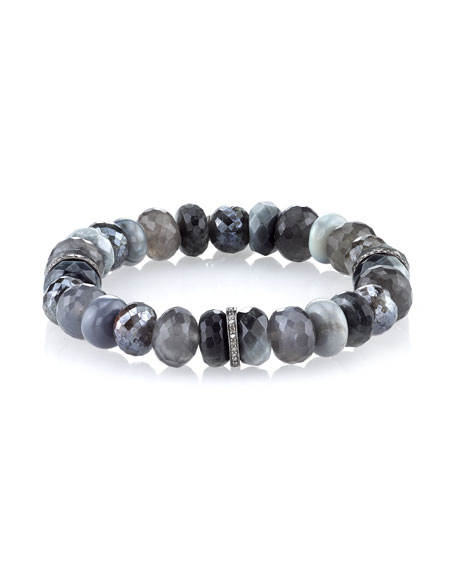 Faceted Gray Mix Beaded Bracelet with Diamond Rondelles