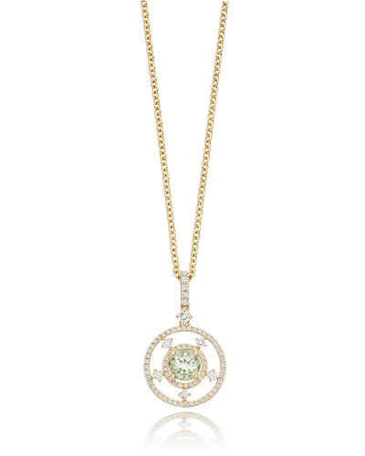 Apollo Green Amethyst & Diamond Pendant Necklace