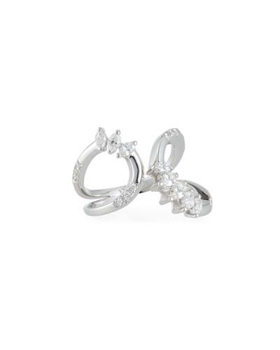 Round & Marquis Diamond Open Ring, Size 7