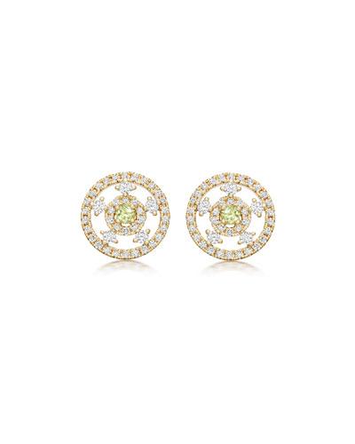 Apollo Green Amethyst & Diamond Earrings