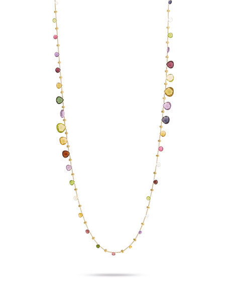 Paradise Graduated Long Necklace with Mixed Elevated Gemstones, 36""