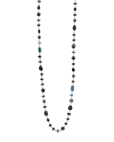 Black & Blue Beaded Wire Wrap Necklace with Diamonds