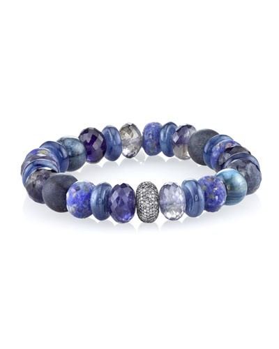 12mm Blue Sapphire Beaded Bracelet with Diamond Bead