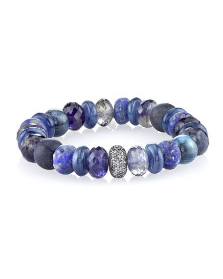 12mm Blue Sapphire Beaded Bracelet with Diamond Bead