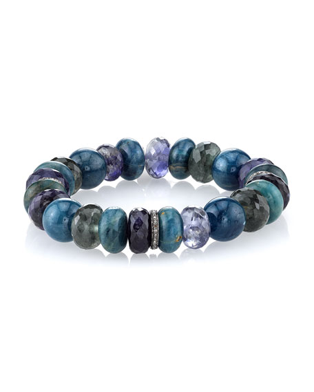 10mm Mixed Apatite Beaded Bracelet with Diamond Rondelles