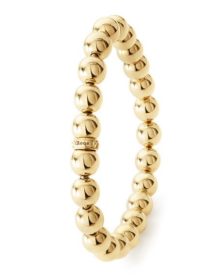 8mm Medium Caviar 18K Ball Stretch Bracelet