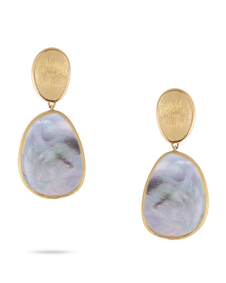 Lunaria Petite Drop Earrings with Black Mother-of-Pearl