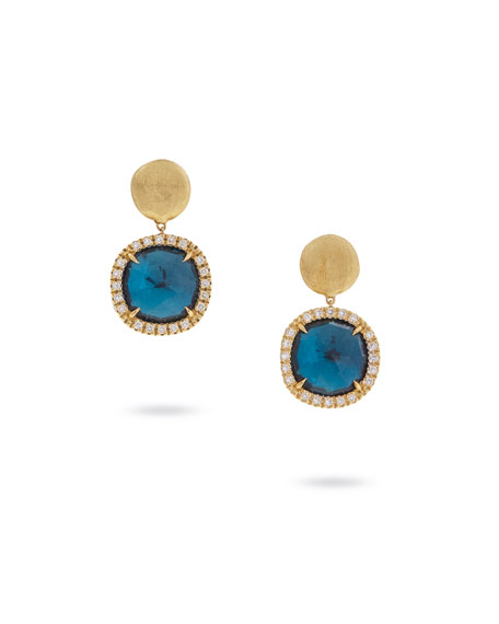 Marco Bicego Jaipur Drop Earrings with London Blue Topaz & Diamonds FCiAT