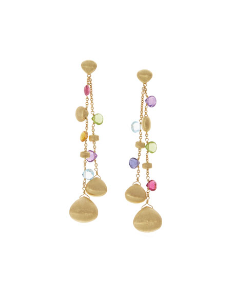 Paradise Double Drop Earrings with Mixed Gemstones