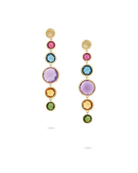 Jaipur Drop Earrings with Mixed Elevated Gemstones