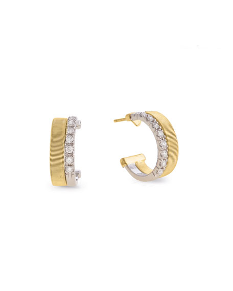 Marco Bicego Masai 18K White & Yellow Gold Coil Hoop Earrings with Diamonds io9Qz