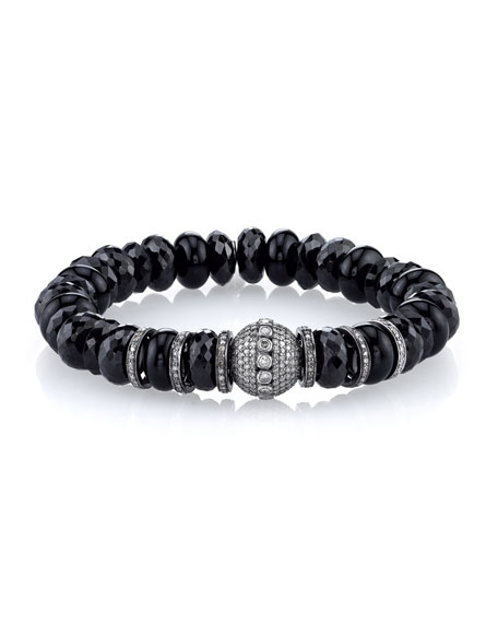 10mm Spinel & Onyx Beaded Bracelet with Diamonds