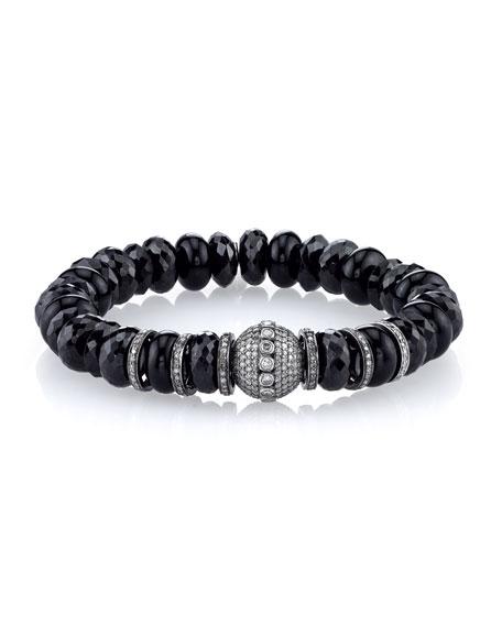10mm Spinel & Onyx Beaded Bracelet with Diamonds