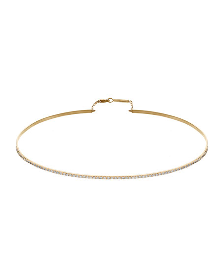 Flawless 14K Gold Thin Choker Necklace with Diamonds